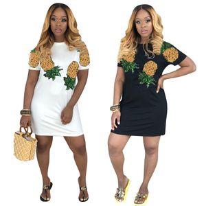 Women Dresses Fashion Summer New Style High Quality Dresses Pineapple Print Luxury Women Designer Dresses Women Luxury Designer Summer