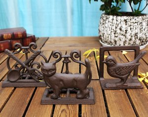 4 Pieces Cast Iron Paper Towel Holder Put on Desk Table Draw Paper Holder Bird Cat Spoon Fork Living Study Room Office Home Pub Bar Decor