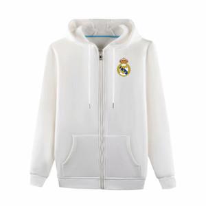 2020 Real Madrid Kapşonlu Ceket futbol Eğitim Ceket futbol Hoodie Kazak Ceket futbol Kazak ceket Erkek ceketler FuTüm-Zip