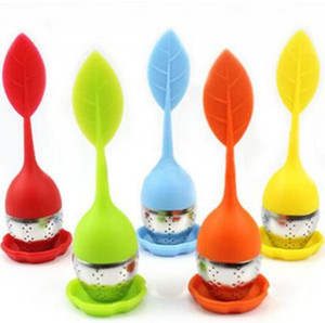 Tea Infuser Tools With 6 Colors Stainless Steel Leaf Silicone Food Grade Make Tea Bag Filter Strainers IIA18