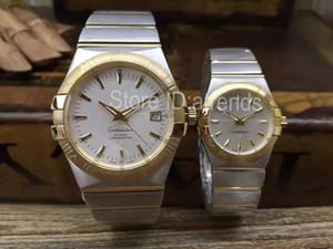 Serie de calidad superior con estilo reloj de cuarzo hombres mujeres oro plata Dial zafiro cristal clásico completo de acero inoxidable amantes ocasionales reloj 9003