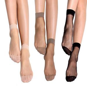 Envío de la gota de bambú hembra calcetines cortos calcetines de las mujeres de cristal fino transparente de seda calcetines chica tobillo Sox 10 paquete / 100pairs / 200pcs