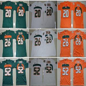 Homens Colégio Futebol Miami Furacões Jerseys Bordados 15 Brad Kaaya 20 Ed Reed 52 Ray Lewis 26 Sean Taylor Verde Laranja Branco Top Quality