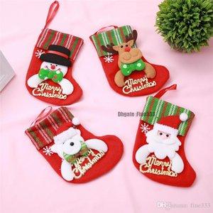 Regalos de Santa Calcetines reno de navidad del caramelo bolsa de tela Medias Calcetines de Santa Elk cuchillo cubiertos sostenedor del bolso del partido del hogar decoración de la tabla