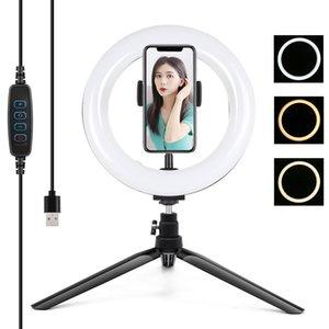 PULUZ 7,9 pulgadas 20cm Light + escritorio del montaje de trípode USB 3 Temperatura Modos regulable color dual LED curvada Light fotografía Anillo Vlogging selfie