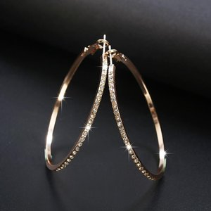 2018 Fashion Hoop Earrings With Rhinestone Circle Earrings Simple Big Circle Gold Color Loop For Women