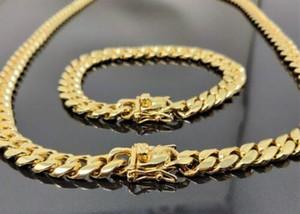 10 milímetros Mens Miami cubana link pulseira cadeia SET 14k de aço inoxidável banhado a ouro