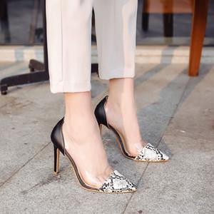 SAGACE Ayakkabı Kadınlar Seksi Sivri Burun Yılan Derisi Desen tek ayakkabı Şeffaf Yüksek Topuk Sandalet moda kadın 2019feb9