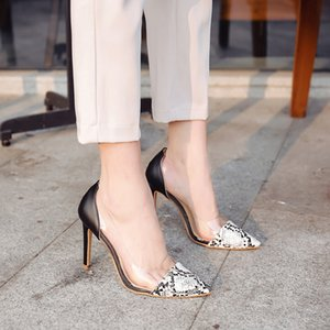 SAGACE Shoes Women Sexy Pointed Toe Snake Skin Pattern single Shoes Transparent High Heel Sandals fashion woman 2019feb9