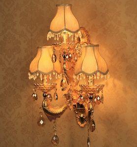 Ristorante dell'hotel Luci di ingegneria Soggiorno Atmosfera 3 Applique in cristallo europeo Bar Retro Gold LLFA