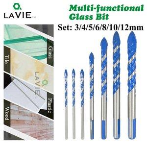 Lavie 7pcs 3/4/5/6/8/10 / 12mm multi-funcionais Broca de vidro Bit Triangle brocas para Azulejo de betão de vidro de mármore DB02061