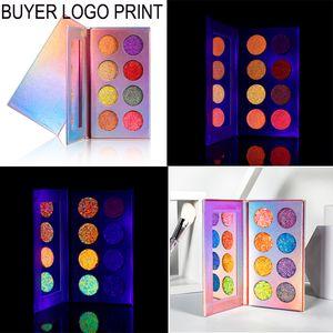 8 цвет Neon Eyeshadow Светящиеся в темноте Glow палитра теней Этап Хэллоуина Макияж Kit UV Glow Blacklight Matte и Блеск
