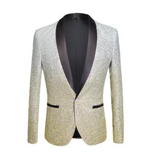 PYJTRL Moda para hombre Gradiente de color Polvo brillante Oro Plata Rosa Champán Azul Negro Slim Fit Chaqueta de traje de cantante traje