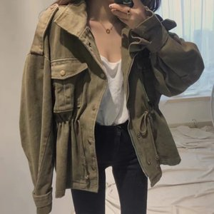Capa de las mujeres chaquetas de Calle con cordón de carga del resorte ocasional del invierno del otoño flojo femenino de la chaqueta de las capas Sólido Estilo BF