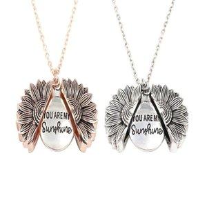 Kreative neue Frauen-Goldhalsketten für Frauen Du bist mein Sonnenschein Mode Sunflower Halskette Schmuck freier Tropfen-Verschiffen