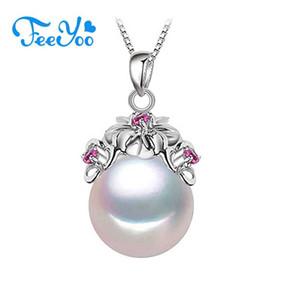 FEEYOO Véritable collier de perles naturelles pour les femmes Party Bijoux en perles Pendentif personnalisé Zircon Collier ras du cou