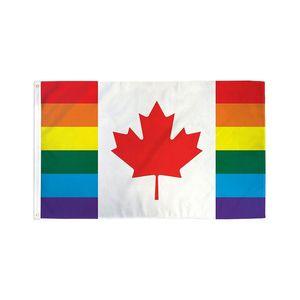 3x5 Canadá-Rianbow-Flag 68D poliéster, 90% sangramento Digital Impresso Poliéster Outdoor Uso Indoor de suspensão Publicidade, frete grátis