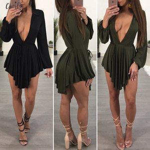 Womens Party Evening Sexy Mini Dress Exotic Deep V Neck Loose Mini Dress High Waist Sexy Lace Up Mini Dress Designer Clothes