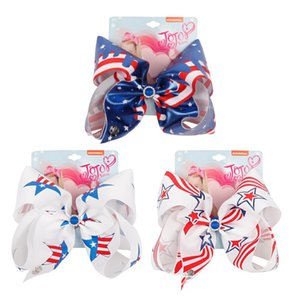 7 inch JOJO Bows with rhinestone American Flag Hairpins Hair Bows 4th of July Wholesale Hair Clips For Independence Day Baby Headwear