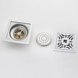 Bathroom Shower Floor Drain Stainless Steel Square Shower Drain Strainer with Removable Cover, 12 Designs Available