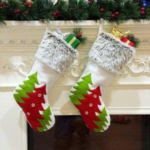 45*27cm Christmas Stocking Mini Tree Printed Hanging Sock Santa Claus Candy Gift Bag Xmas Tree Hanging Decoration Drop Ornament