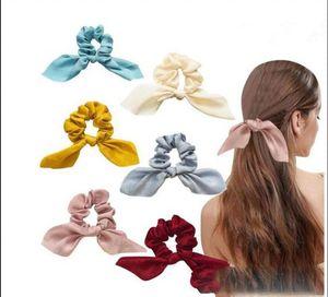 Bow Hair Scrunchies Cute Bunny Ear Rabbit Bowknot Scrunchies Ponytail Holder Hair Elastics Hair Ties 6 Color 12 pcs