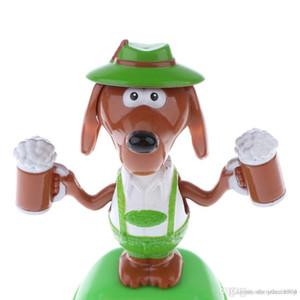 Neue heiße Solarbetriebene Tanzen Flip Flap Auto-Spielzeug-Tabelle Ornament Wackelkopf-Bier-Hundespielzeug Kindergeburtstag Weihnachten Geschenkideen