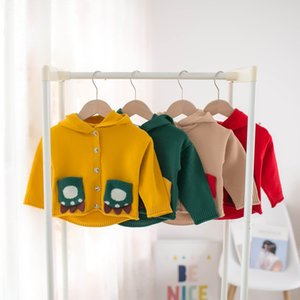 Kids Cartoon Cardigan Christmas Autumn Winter 2020 Children Hooded Sweater Boys Girls Animal Hoodie Long Sleeve Outwear Tops C6468