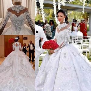 Azzaria Haute Sparkly Свадебные платья 2020 Свадебное платье Роскошные Кристалл бисера Кружева аппликация Ruffles Многоуровневое собор Поезд арабский Дубай