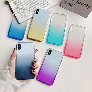 Gradiente corlorful Silicon Phone Case para iPhone 11 Pro Max 2019 X XS Max Ultra Fina E Macia TPU capa protetora para Samsung Nota 10 S10 Fundas