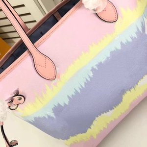 Pastel Bag Verão Escale Neverful Tote do unicórnio bolsa Pastel de luxo de moda feminina Designer Real Leather Tote Matching bolsa com carteira