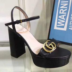 Markalı Kadınlar Deri Platformu Yüksek topuk Sandal Tasarımcı Lady Ayarlanabilir Ayak bileği Kayış Lastik Sole Sandal Olmalıdır