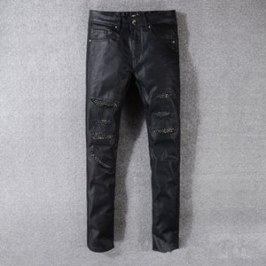 Fashion Mens Straight Ripped Jeans Vintage Daily Biker Stretch Pants Causal Zipper Cotton Motorcycle Denim Pant T-TA623
