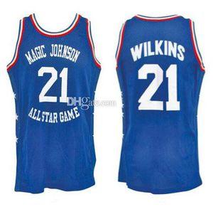 "1988 Dominique Wilkins # 21 ""Mid-Yaz Geceleri"" Magic Johnson All-Star Charity Oyun Retro Basketbol Formalar Mens Dikişli Özel Herhangi Ad"