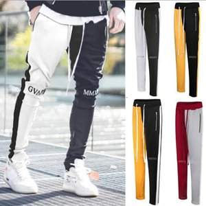 New Mens Stylish Panelled Pants Embroidery Letters Skinny Slim Straight Frayed Denim Trousers New Fashion Skinny Trackpants Men Clothes