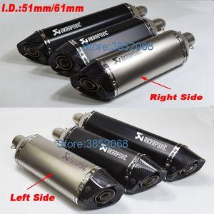 يسار / يمين العالمي للدراجات النارية Akrapovic ID العادم: 51mm / 61mm لL: 570mm / 470mm دراجة نارية من ألياف الكربون تلميح العادم الخمار الهروب