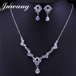 JUWANG 2018 Clear Crystal Bride Jewelry Set for Woman Cubic Zircons Earrings and Necklace Bijoux Femme Engagement Jewelry Gift