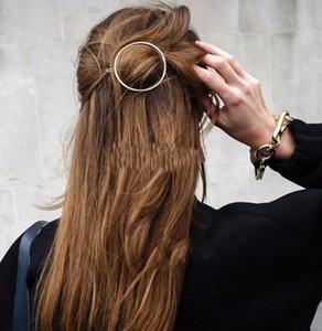 2019 Kadınlar Kız Firkete Moda Takı Altın Renk Hollow Yuvarlak Daire Klip Barrette Düğün Saç Aksesuarları Toptan