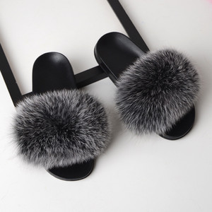Fur pantofole donne reali della pelliccia di Fox Slides casa Furry Sandali piatti donna carina Scarpe Fluffy donna della casa di lusso di marca 2020