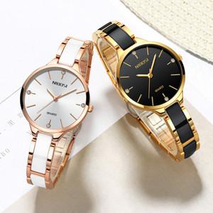 NIBOSI Uhr-Frauen-Uhren Damen Kreative Frauen-Keramik-Armband-Uhren Female Clock Relogio Feminino Montre Femme