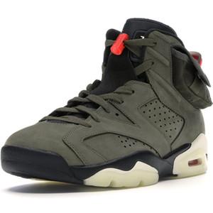 Обратный Travis Скоттс Баскетбол обувь 2019 Новая 6 Medium Olive Green Low Men Баскетбольная обувь 6S VI Спортивные кроссовки 4 Трейнеры 1