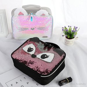 Cartoon Portable Lunch Bag Back To School Student Square Sequin Lunch Bag Girl Cat Zipper Makeup Storage Bag