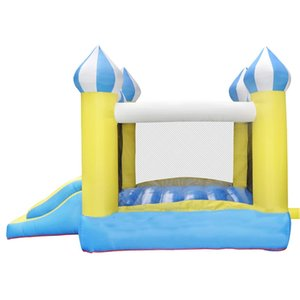 Yellow Cheap Small Trampoline With Slide Bounce House Combo Inflatable Moonwalks Jumpers For Indoor Outdoor Party Play Fun With Air Blower