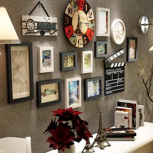 Современные Фоторамки для фото 14 шт Frames Pictures Set Home стены висячие украшения Wood Art Craft ARTWARE Фотографии Рамки SH190918
