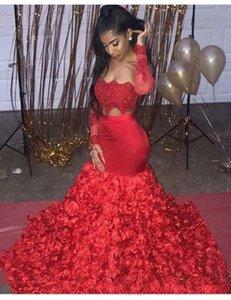 2019 Aso Ebi Style Prom Dresses 3D Rose Fiori per le donne Party Wear Backless Dubai Caftano rosso manica lunga Due pezzi abiti da sera
