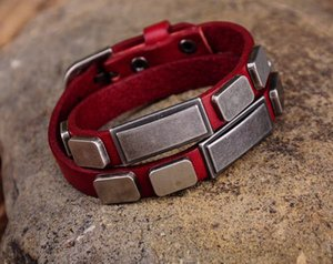 G396 Kırmızı Şık Etiket Çivili Çift Wrap Gerçek Deri Bileklik Bilezik Manşet Yeni