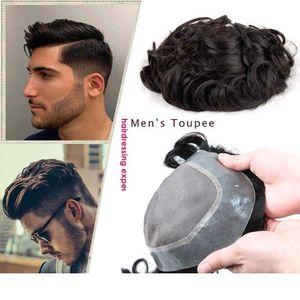 Silk Base de PU Cerca de recolocação do cabelo peruca de Remy peruca de cabelo Homens Humano Perucas Peruca Com Fina Cabelo Natural Pele Sistemas Mens