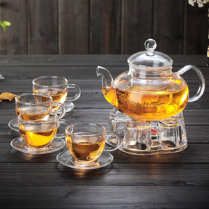 600ml 4 Style Glass Teapot Set Cup with Handle with Dish Teaware Flower Thickening Pots Kung Fu Tea Home Office Utensils Party Travel Set