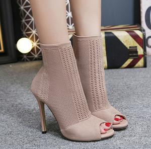 bottines chaud peep toe confortable vente concepteur chaussettes en laine mode talon aiguille 11cm chaussures de soirée de bottillons noirs