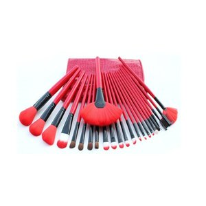 DHL free shipping 24pcs Makeup Brush Set MakeupTool Kit Red Black ColorThe crocodile grain Makeup Brushes Make up Brush Kit